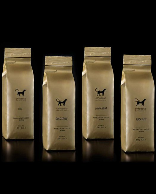 4 flavors of coffe beans Gold; Black, Smooth, Deca
